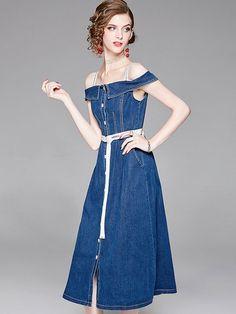 28fa5f7e92e404 Solid Color Sashes Slash Neck Sleeveless High Waist Slip Dresses