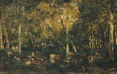 Théodore Rousseau, Intérieur de forêt, 1867 Theodore Rousseau, Dit, Art History, Photos, Fine Art, Painting, Barbizon School, Fine Art Paintings, Drill Bit