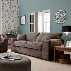 Duck Egg Blue Walls With Beige Furniture For Living Room