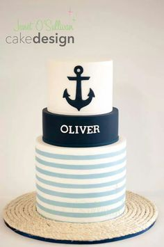 Nautical cake- this is perfect for my Oliver Jase! LOVE IT - Nautical Baby Names - Ideas of Nautical Baby Names - Nautical cake- this is perfect for my Oliver Jase! Baby Boy Baptism, Boy Christening, Baptism Party, Nautical Cake, Nautical Theme, Nautical Baptism, Fancy Cakes, Cute Cakes, Pink Cakes