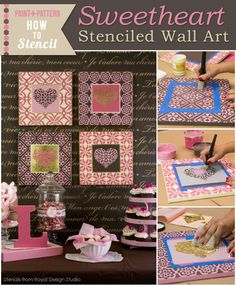 Learn how to stencil with wall art stencils and Chalk Paint by Annie Sloan to decorate DIY Valentine's Day decor and wall art with a colorful painting tutorial!