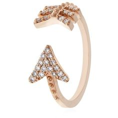 Bee Goddess White Diamond Eros Midi Ring ($1,175) ❤ liked on Polyvore featuring jewelry, rings, mid knuckle rings, bee goddess, 14 karat white gold diamond ring, circle ring and feather jewelry