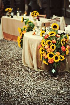 sunflowers and roses wedding aisle