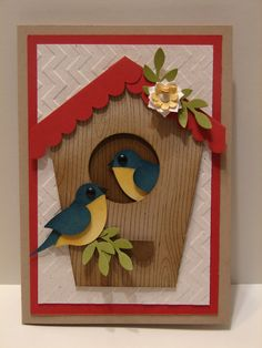 #SU Bird, Circle Scallop Border and other punches were used on this great bird house card!