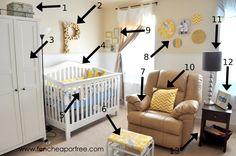 Gray and yellow nursery DIY.