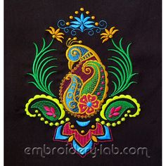 Paisley peacock  - high quality machine embroidery design from Embroidery Lab
