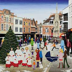 CARDS - Christmas in Winchester - Louise Braithwaite – Naive Artist Winchester Hampshire, Grandma Moses, City Folk, Retro Images, Happy Paintings, Christmas Art, Xmas, Naive Art, Beach Art