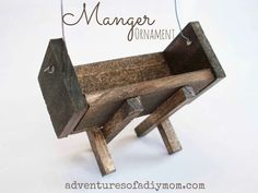Learn how to make a manger ornament using paint sticks and square dowels. A must have for any nativity themed Christmas tree. Christmas Manger, Christmas Ornaments To Make, Christmas Tree Themes, 12 Days Of Christmas, How To Make Ornaments, Homemade Christmas, Christmas Projects, Christmas Holidays, Christmas Ideas
