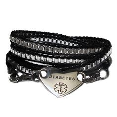 Medical Alert Bracelets -  Black Leather & Chain Multi-Wrap Medical Bracelet