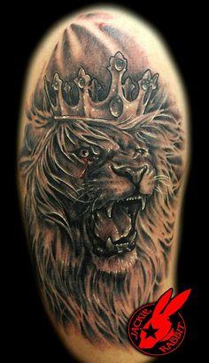 Roaring Lion Chest Tattoos