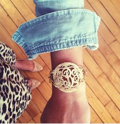 leopard skirt, nude heels, chambray button down, gold monogram bracelet
