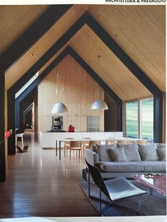 A Frame - Corridor Inspo Flat Roof House Designs, Small House Design, Steel Frame House, A Frame House, Modern Barn House, Modern House Plans, Shed Homes, Barn Homes, Interior Architecture