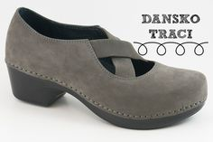 Adorable Dansko Traci in gray nubuck with criss-cross straps, lightweight rocker sole and cushioned insole! Reviewed.