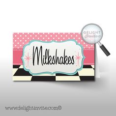 1950's Retro Food Tent Cards perfect for your 50's theme birthday party. American Girl Maryellen party favors
