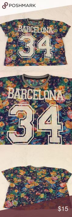 Floral Mesh Crop Top Cute jersey crop top with Barcelona and 34 on the front! Cute for working out and casual wear! NWOT and actually brought this from Barcelona!! Tops Crop Tops