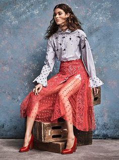 Valentino Embroidered Button Front Top, Guipure Lace Skirt and Soul Stud Leather Block-Heel Pumps