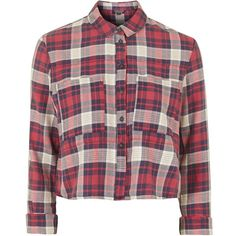 TOPSHOP Cropped Check Shirt ($52) ❤ liked on Polyvore featuring tops, shirts, crop tops, flannel, red, purple crop top, purple shirt, flannel shirts, topshop y red flannel shirt
