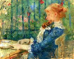 Tea (1882) by Berthe Morisot (1841-1894), French - member of the circle of Impressionist painters in Paris. Morisot painted what she experienced on a daily basis. Her paintings reflect the 19th-century cultural restrictions of her class and gender. She avoided urban and street scenes and seldom painted the nude figure. Like her fellow Impressionist Mary Cassatt, she focused on domestic life and portraits in which she could use family and personal friends as models (wiki) - (posted on bo…