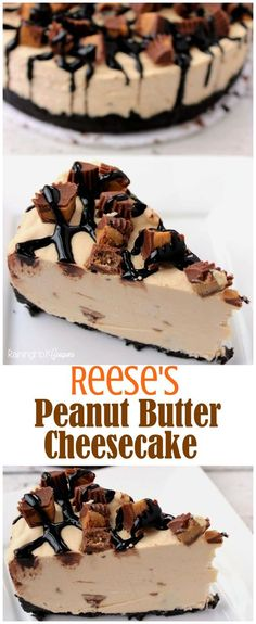 Reese's Peanut Butter No Bake Cheesecake - Full of chocolate, creamy Reese's and more! Kid friendly recipe.: