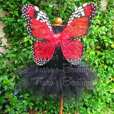 Black Tutu and Red Wings - Midnight Monarch - Sewn 11'' Pixie Tutu & Butterfly Wings - Toddler, Girls Halloween Costume. $40.00, via Etsy.