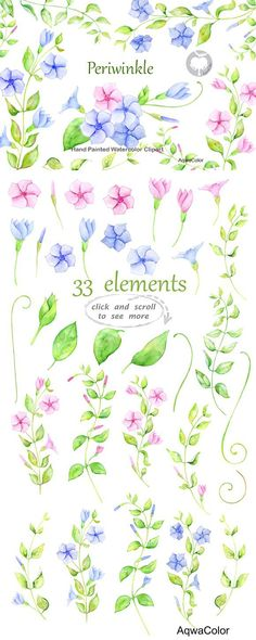 Watercolor clipart Periwinkle. Wedding Card Templates