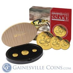 2013 3 Coin Proof Gold Australian Lunar Year of the Snake Set Mintage of ONLY 3000 Sets! oz of Gold) Year Of The Snake, Gold And Silver Coins, Mint Coins, Gold Bullion, Perth, Stuff To Buy