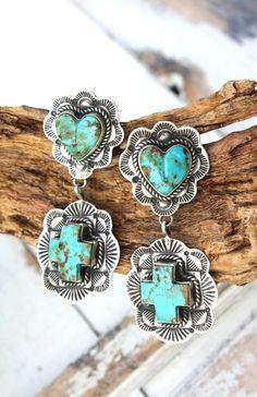 Extraordinary Navajo Turquoise & Sterling Heart Cross Earrings! http://www.cowgirlkim.com/extraordinary-navajo-turquoise-sterling-heart-cross-earrings.html