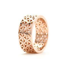 Custom Flower of Life Ring in Rose Gold