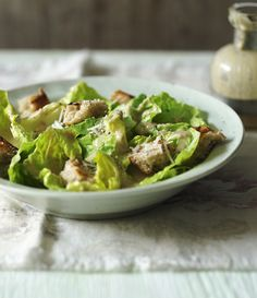 This low-fat Caesar salad uses all the great ingredients you'd expect to find, but tweaks the method to make it lighter