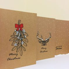 Christmas Card Set, Christmas Cards, Simple Cards, Reindeer, Mistletoe, Handmade Cards, Brown Christmas Cards, Snow Christmas Cards, by JennysDesigns1 on Etsy https://www.etsy.com/uk/listing/471072939/christmas-card-set-christmas-cards