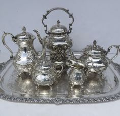 Hand Chased Tea Set Six Pieces by Wilcox Silver Plate 19th Century