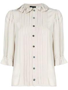 Isabel Marant Pleated Button Shirt - Yellow In Yellow & Orange | ModeSens Neutral Blouses, Isabel Marant, Versace, Yellow, Orange, Shirt Designs, Women Wear, Buttons, Shirt Dress