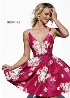 Sherri Hill 32321 Floral Print Short Party Dress- Short party dress features a floral print and deep V neck. Sherri Hill Prom Dresses, Prom Dresses 2016, Pageant Dresses, Trendy Dresses, Dance Dresses, Sexy Dresses, Cute Dresses, Beautiful Dresses, Formal Dresses
