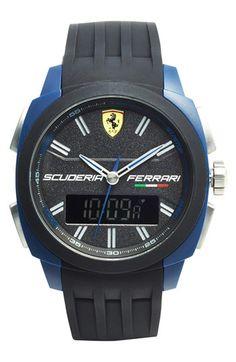 Scuderia+Ferrari+'Aerodinamico'+Ana-Digi+Silicone+Strap+Watch,+46mm+available+at+#Nordstrom