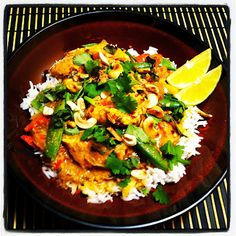 Crock pot chicken peanut curry. I used a whole pepper and onion instead of half.