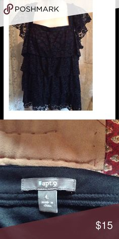 APT 9 Blouse Adorable black lace top ! Has capped sleeves, perfect condition. Apt. 9 Tops