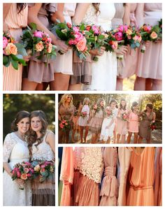Mismatched neutral bridesmaid dresses with bright peony, hypericum, and garden rose bouquets