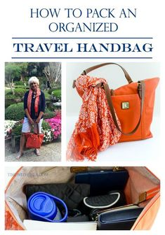 How To Pack An Organized Travel Handbag ~ Tips for how to decide what items to include and how to pack your handbag so it is very organized for traveling! It is a smart organization idea!