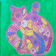 Lemur from #milliemarotta #tropicalwonderland using #winkofstella #gelpens #acrylicpainting