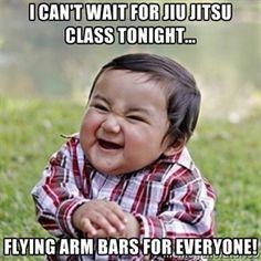 I can't wait for jiu jitsu class tonight... Flying arm bars for everyone! | evil toddler kid2