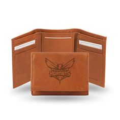 Charlotte Hornets Tri-Fold Wallet (Pecan Cowhide)