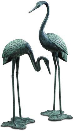 Garden Crane Statue/Sculpture Pair by SPI Home/San Pacific International 33242 Aluminum Foil Art, California Decor, Fish Sculpture, Metal Sculptures, Asian Garden, House Ornaments, Decks And Porches, Mural Art, Beautiful Birds