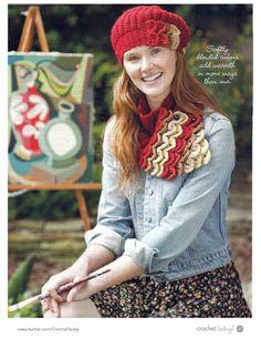 Cachecol em crochet com Ponto em alto relevo