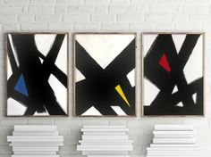 Modern Triptych Canvas Set of 3 black and white art canvas red