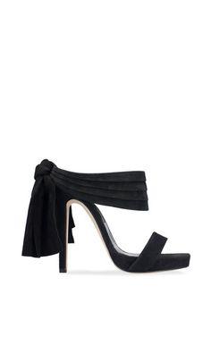Sandy Platform Sandal In Black Suede And Satin by Oscar de la Renta