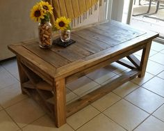 Rustic Pallet Coffee Table   Base   X   Top   X X H Hand Built Locally From  Hardwood And Old Pallets.