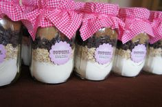 Shower gift:  Cowgirl cookie mix in mason jars!  Would be cute for bridal showers, baby showers, birthdays, or any party.