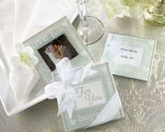 """""""Good Wishes"""" Pearlized Photo Coasters"""
