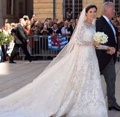 Princess Claire of Luxembourg wearing Elie Saab Wedding Gown