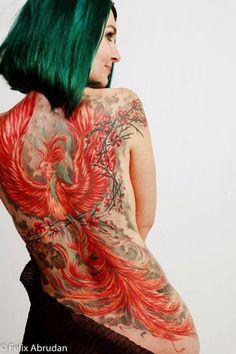 Sleeve tattoos for women full color 43 -. Back Tattoo Women Full, Bird Tattoos For Women, Red Bird Tattoos, Tattoo Bird, Phoenix Tattoo Girl, Phoenix Tattoo Design, Full Sleeve Tattoos, Sleeve Tattoos For Women, Trendy Tattoos